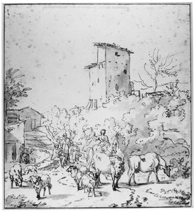 Figuren met vee in een Italiaans dorp