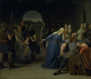 Thyra Danebod probeer de woede van Gorm de Oude woede tegen een aantal gevangen christenen tot bedaren te brengen