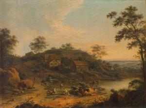 Heuvellandschap met boerderijen