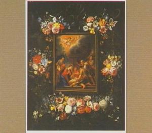 Bloemenkrans rond een voorstelling van de aanbidding der herders
