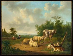 Landschap met vee en een rustend paar in de achtegrond