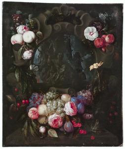 Stilleven van vruchten- en bloementrossen rond een stenen cartouche met Maria en kind