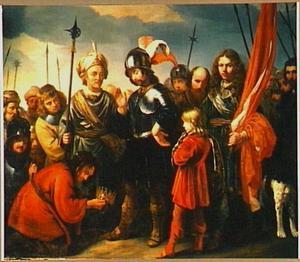 De kroon van koning Saul wordt aan David aangeboden (2 Samuel 1:10)