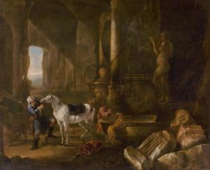 Mannen met paarden en honden drinkend in een grot