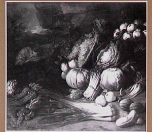 Stilleven van vruchten en groente in een landschap, links een slapende vrouw
