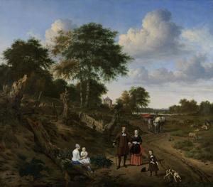Portret van een onbekende familie in een landschap