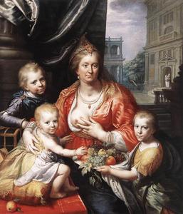 Portret van Sophia Hedwig van Brunswijk -Wolfenbuttel (1592-1642) met haar zonen Hendrik Casimir I (1612-1640), Willem Frederik (1613-1664) en Maurits (1619-1628) van Nassau-Dietz als Caritas