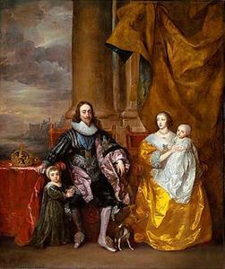 Familieportret van Karel I Stuart (1600-1649), koning van Engeland en Henriëtta Maria de Bourbon, koningin van Engeland (1609-1669) met hun twee oudste kinderen Karel (1630-1685) en Mary (1631-1660), met op de achtergrond de Theems bij Westminster