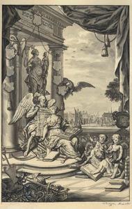 Allegorie op de familie Van Slingelandt, met in de achtergrond Dordrecht
