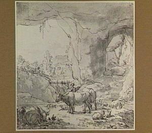 Heuvellandschap met herder en vee in een grot