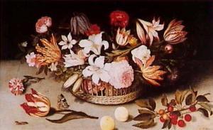 Bloemstilleven in een mand