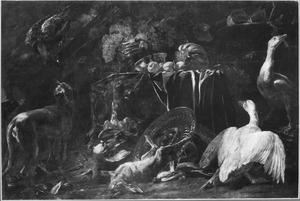 Stilleven met vruchten en een dode haas, omringd door levende dieren