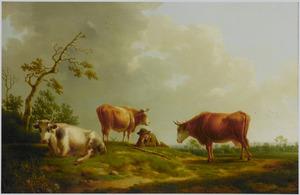 Landschap met vee en een rustende herder