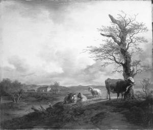 Landschap met een koe die zich tegen een beuk schurkt