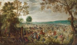 Dragonders overvallen een groep reizigers in een landschap