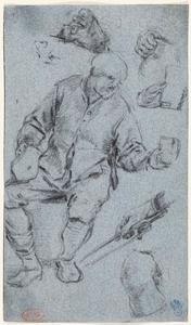 Zittende drinkende man en studies van handen en een knie
