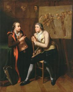 Dubbelportret van de broers Johann Heinrich Wilhelm (1751-1828) en Heinrich Jakob (1760-1804) Tischbein, discussiërend in hun atelier