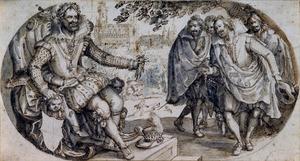 Koning Henri IV ontvangt een voornaam gezelschap, het stadhuis van Atrecht op de achtergrond