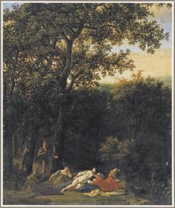 Boslandschap met Cimon kijkend naar de slapende nimf Iphigenia (Boccaccio, Decamerone, 5:1)