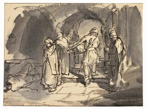 De beul draagt het hoofd van Johannes de Doper op een schaal naar Herodes
