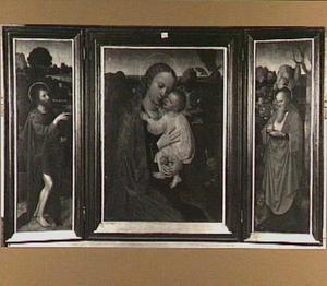 De H. Johannes de Doper; Maria met kind; de H. Hieronymus