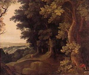 Jagers in een bos
