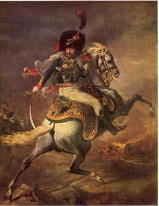 Officier van de chasseurs de Keizerlijke Garde in een charge