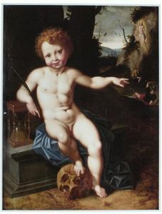 Vanitas: putto met doodshoofd en zandloper. In de achtergrond de opstanding van Christus