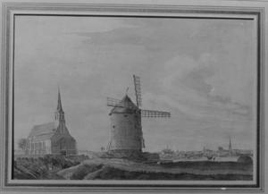 St. Gerebernuskapel en Römerturm met molen bij Sonsbeck