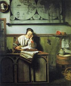 Slapende vrouw met haar boekhouding