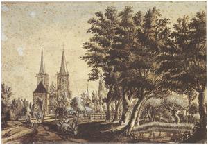 Gezicht op Xanten met de Meertoren ('Meerturm'), de Meerpoort ('Meertor') en de Dom van Xanten