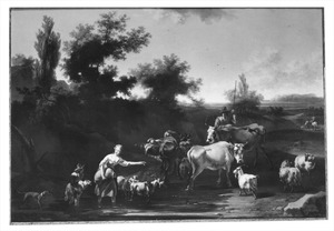 Landschap met herders en hun dieren bij een waterplas