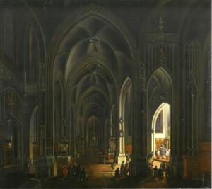 Kerkinterieur met figuren voor een door kaarslicht verlichte kapel
