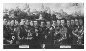 Zeventien schutters behorende tot Rot A van de Kloveniersdoelen te Amsterdam
