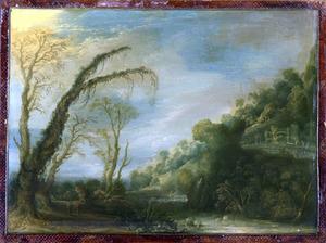 Bergachtig landschap met ruïnes en een riviertje