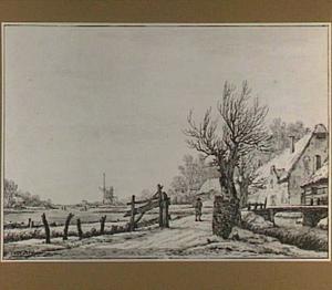 Winterlandschap met boerderijen en molen