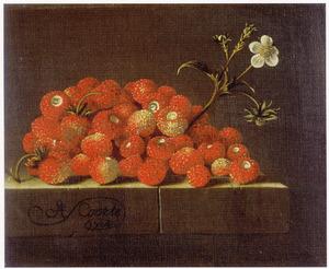 Stilleven van aardbeien op een stenen tafel