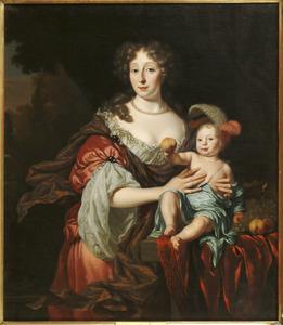 Portret van een vrouw met haar zoontje