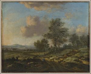 Duinlandschap met een herder en zijn kudde