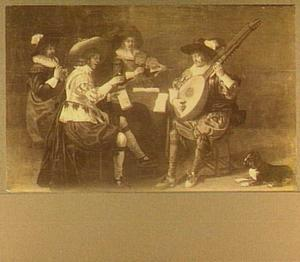 Interieur met vier musicerende mannen