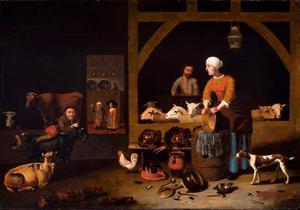 Stalinterieur met boerenfamilie en vee