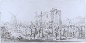 De kist met het lichaam van Gillis van Ledenberg aan de galg