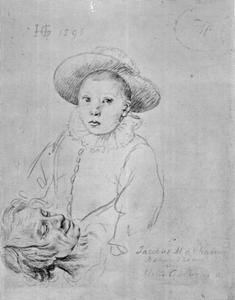 Studieblad met kop van een oude man en portret van een jongen, mogelijk Frederick de Vries (?-?)