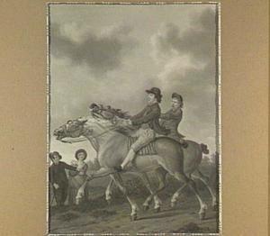 Twee dravende paarden met ruiters in een landschap