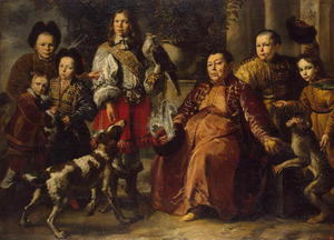 Portret van Dedesh Aga, gezant van de Khan van de Krim Tartaren, aan het hof van  koning Jan Kasimir (1609-1672) met zijn familie
