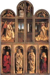 De annunciatie; profeten en sibillen (boven); de HH. Johannes de Doper en Johannes de Evangelist, Joos Vijd en Elisabeth Borluut (onder). Het Lam Godsretabel
