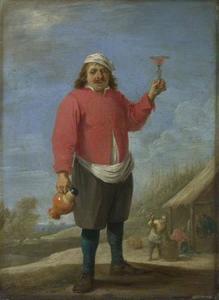 Staande boer met wijnkruik en opgeheven glas (De Herfst)