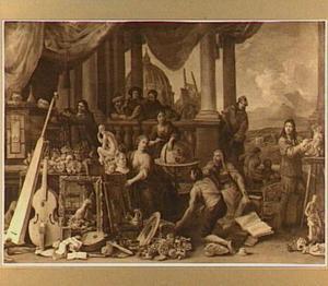 Allegorie op de kunsten, op de achtergrond de koepel van de Sint Pieter in Rome