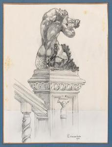 Triton beeld op stijl van de monumentale trap in het Rubenshuis