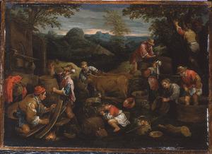 Allegorie op de herfst: werkzaamheden rond de wijnoogst